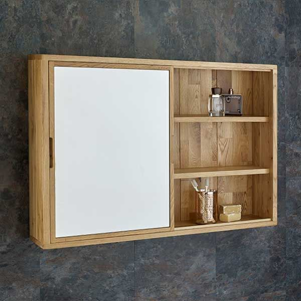 Large Solid Oak Mirror Bathroom Cabinet And Shelf Unit With Sliding Door In Natural Oak 800mm X 600mm In 2020 Sliding Cabinet Doors Bathroom Mirror Cabinet Wall Mounted Bathroom Cabinets