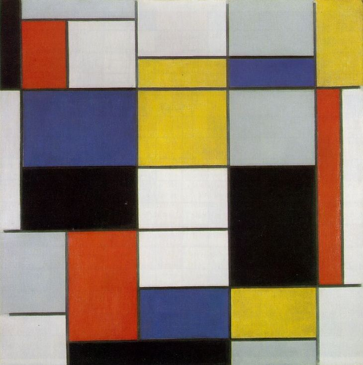 RE-PIN De Stijl: Composition A (1920) Artist: Piet Mondrian. This movement is about using one visual style to represent life in all aspects. Taking form geometric forms, artists using lines, squares and rectangles to express harmony. Painting with the primary colours and shades with exact precision. This pin follows exactly what the movements about, exact lines that create a piece. The squares and rectangle compose an image, art reduced in its simplest forms to convey their abstract message.