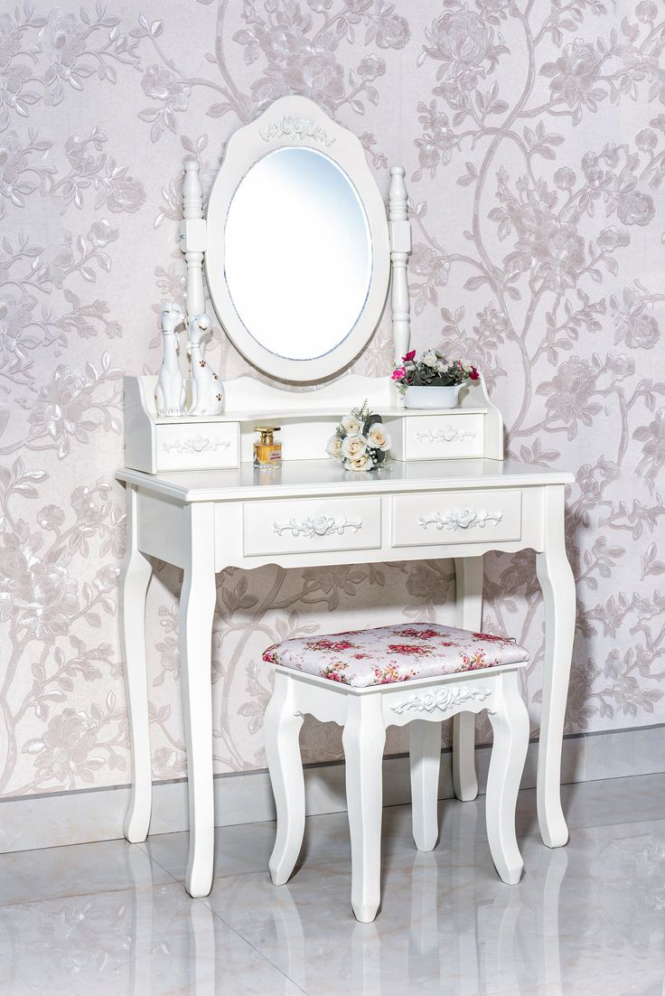 Vintage Vanity Table Makeup Table with 4 Drawers an