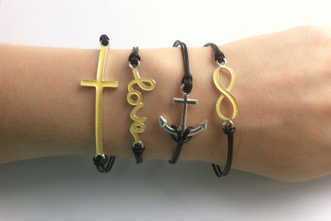 Yellow Cross, Love, Anchor & Infinity Cord Bracelet Set by Haute and Tidy on hellopretty.co.za
