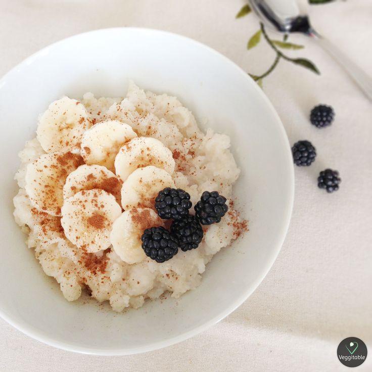 Papa de Arroz com Banana e Amoras | Rice Porridge with Banana and Blackberries
