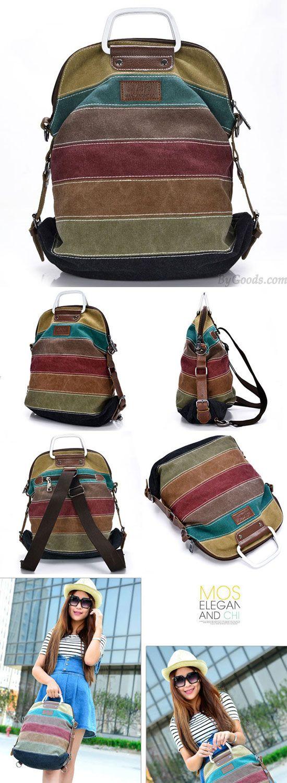 Retro Splicing Colorful Striped Canvas Backpack School Shoulder Bag Handbag Multifunctional Backpacks for big sale! #retro #canvas #backpack #school #college #Bag