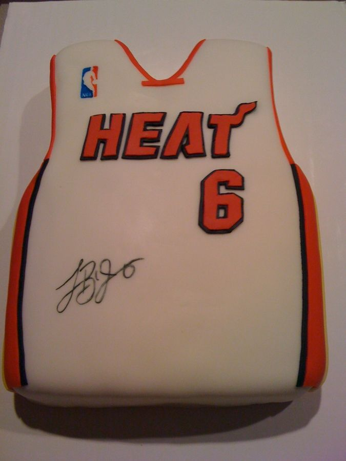 Made this for my nephews birthday. Wilton fondant, edible markers for signature and NBA logo.