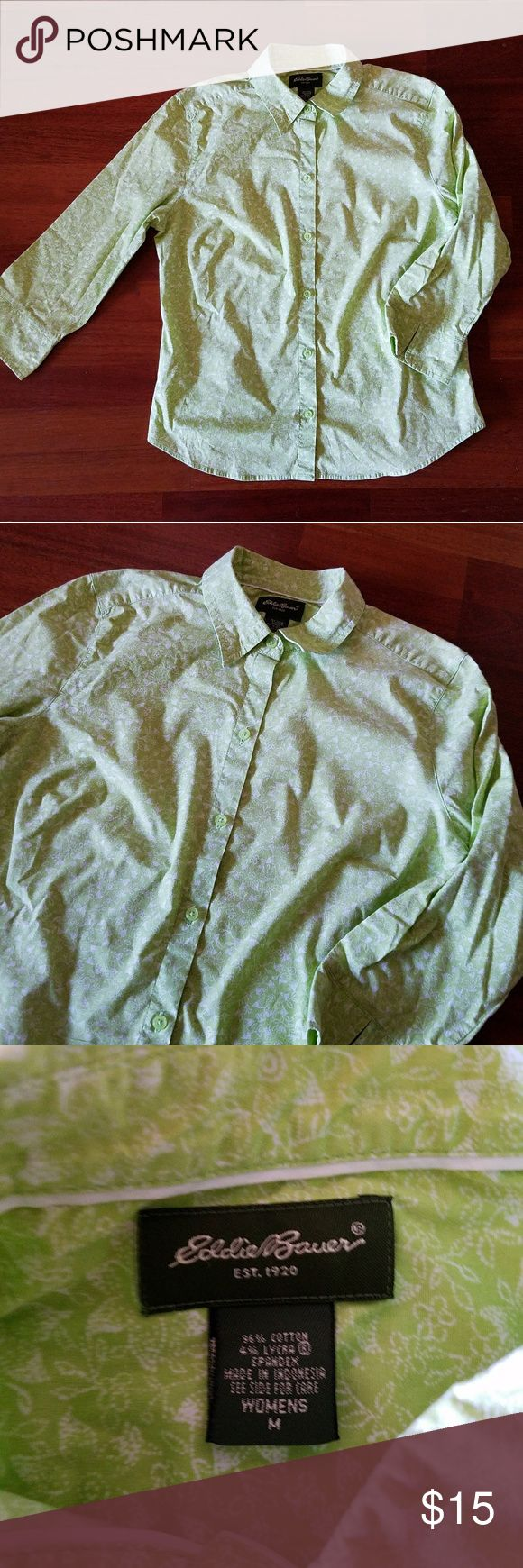 Eddie Bauer Lime Green Shirt This muted lime green button up shirt is perfect for work and features a delicate white floral patter throughout. Eddie Bauer Tops Button Down Shirts