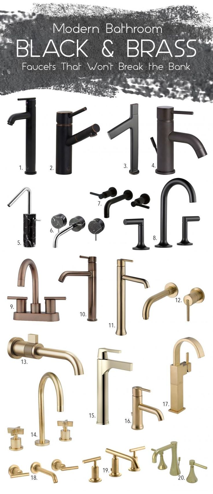 black & brass kitchen faucet mood board via Simply Grove