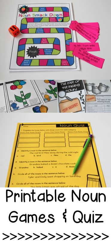 Noun games and noun quiz - perfect for teaching and practicing identifying nouns. Great for centers, small groups, or morning work!