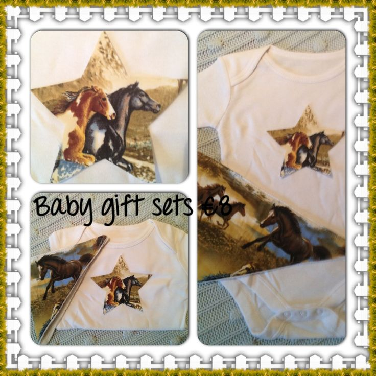 Horse themed appliqued white cotton bodysuit with matching bandana bib.