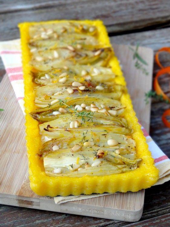 Tarte de polenta aux endives a l'orange at au chevre