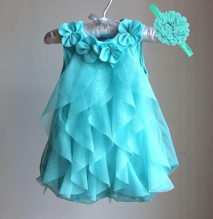 Girls Dress 2017 Summer Chiffon Party Dress Infant 3M-24M Blue Dress Baby Girl Clothes Dresses & Headband Vestidos