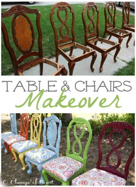 Who says chairs have to match? :-) Especially if you make them thematically linked with paint and fabric!