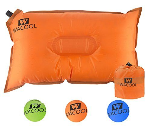 WACOOL Inflatable Travel Camp Pillow, Self Inflating Travel Camp Pillow, Air Travel Camp Pillow (Orange). For product & price info go to:  https://all4hiking.com/products/wacool-inflatable-travel-camp-pillow-self-inflating-travel-camp-pillow-air-travel-camp-pillow-orange/