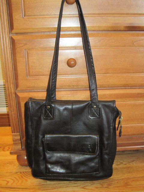 FRYE PURSE BLACK LEATHER SHOULDER BAG TOTE LARGE SHOPPER SCHOOL MESSENGER BAG!  | eBay