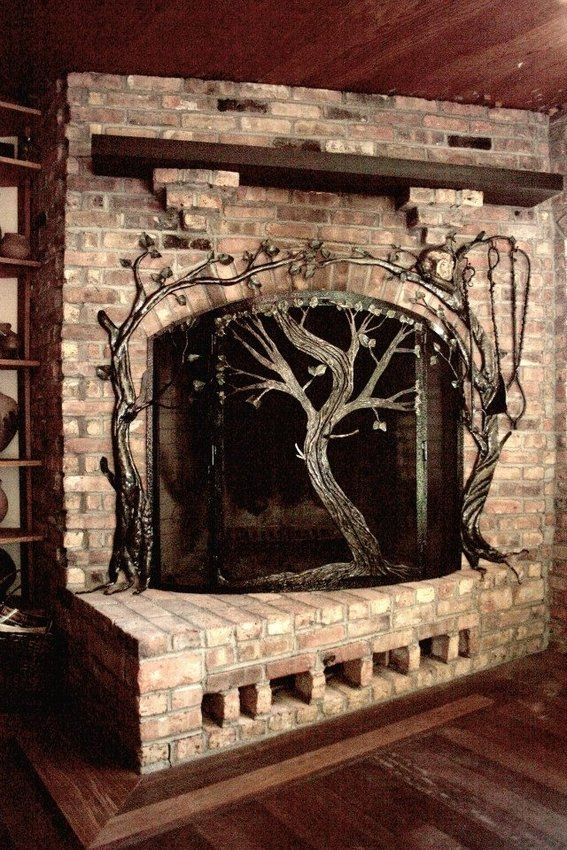 Custom Made Fireplace Screens | custommade.com | Made by Paula and Larry Jensen OF EARTH EAGLE FORGE LLC, LONGVILLE MN