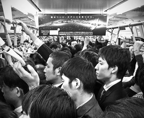 crowded train in Tokyo