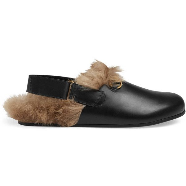Gucci Horsebit Leather Slipper (€770) ❤ liked on Polyvore featuring men's fashion, men's shoes, men's slippers, black, mens wide width shoes, mens black velcro shoes, mens wide width slippers, mens wide shoes and gucci mens shoes