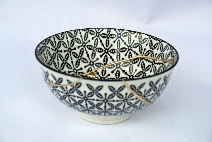 Kintsugi Vintage bowl, cuenco Kintsugi porcelana oriental. Colección Butterfly nº51 de KanelaSuri en Etsy
