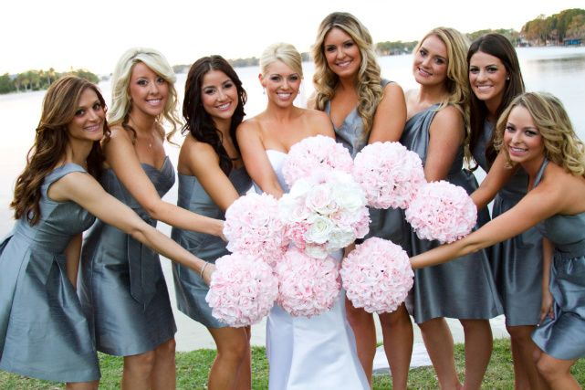 Both the bridesmaids' and bride's boquets are silk.  Bride's boquet is from Kim with etsy Alexis Grace Designs