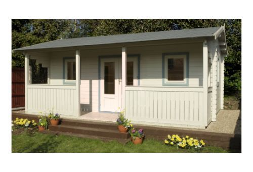 The Harlech is a stylish garden pavilion styled cabin, with integral veranda and balustrading finished to the highest specification. Leekes - http://www.leekes.co.uk/log-cabins/harlech-log-cabin/invt/501756&bklist=icat,2,logcabins