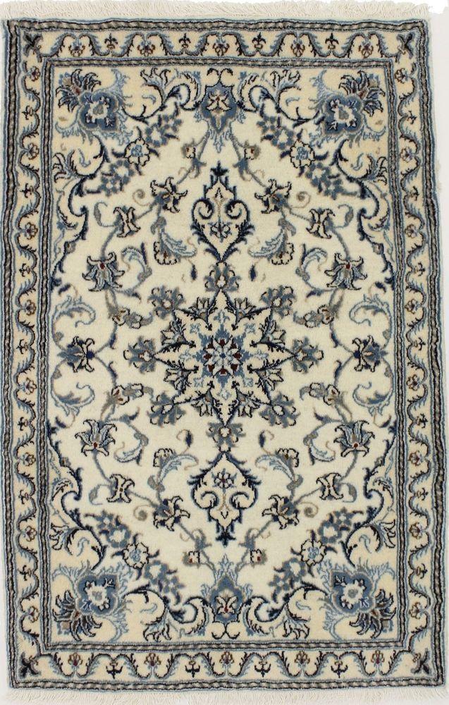 Elegant Handmade Foyer Nain Kashmar Persian Fine Wool Rug Oriental