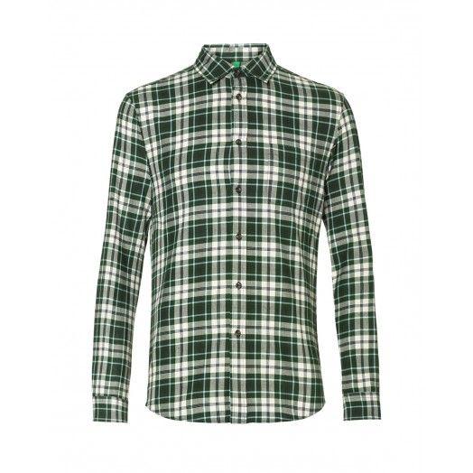 Camicia in flanella, di cotone fantasia, disegno tartan e taschino frontale lato cuore applicato.5JL75Q248 GREEN