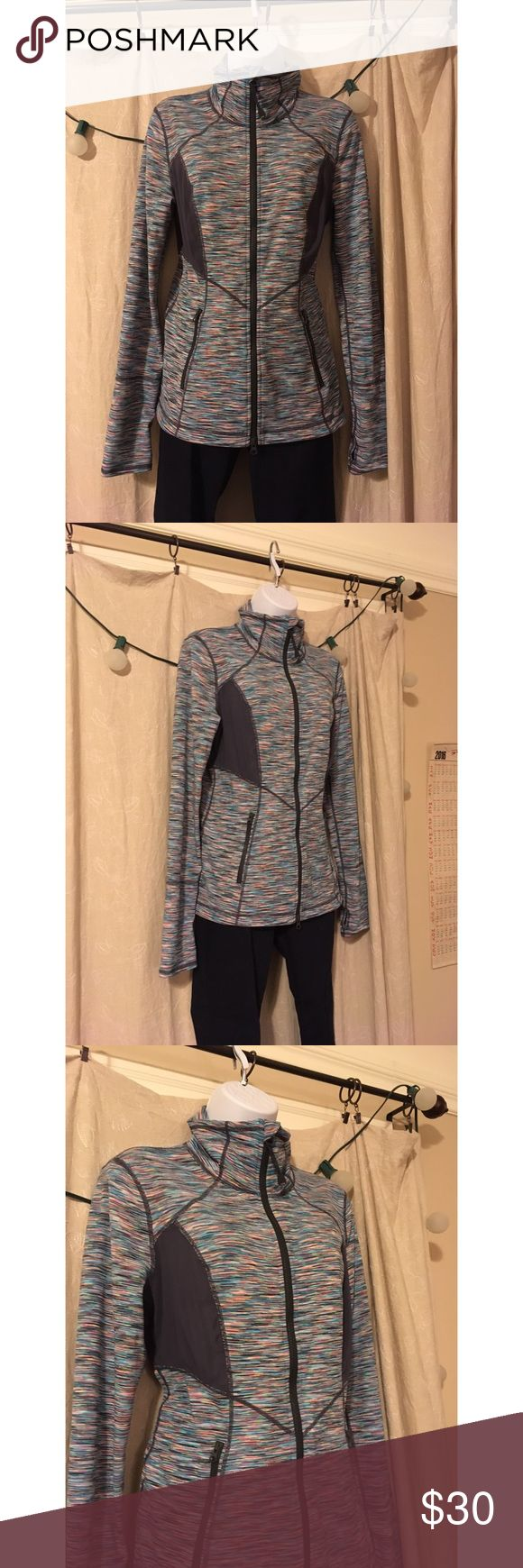 Zella Zip up Jacket Multi color zip up jacket, activewear, has breathable mesh under arms, zippered pockets on either side, thumb holes, zips up all the way for neck coverage/NEVER BEEN WORN Zella Jackets & Coats