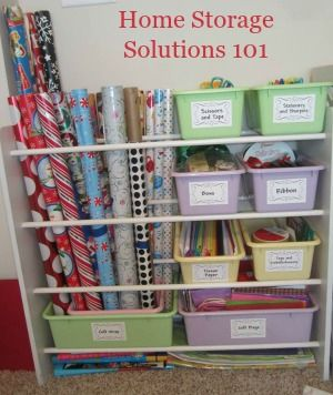 Your challenge this week is to organize wrapping paper, gift bags, tissue paper, ribbons and bows so you can access everything when you need it easily, and yet keep it out of the way the rest of year. Here are the steps to take.