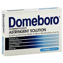 Domebro is an astringent powder that works incredibly well to soothe and dry out the itchy rash and bubbles and bumps caused by poison ivy. Mix as directed with water in a leftover container w/ a lid and dab with a dampened washcloth repeatedly. Do not rub at all. Just dab over and over and over and the itch will stop quickly and the rash will dry up. Fabulous stuff at Walgreen's.