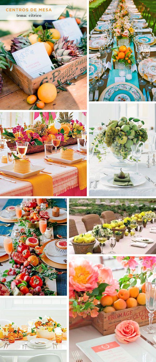 Centros de mesa com frutas e legumes cítricos - ideias para a decoração de uma mesa de almoço