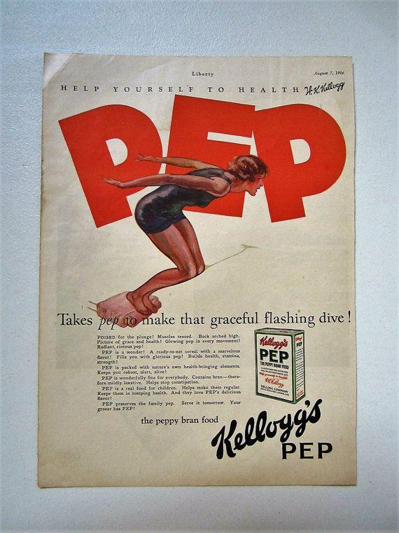 Questo annuncio rivista vintage originale per cereali Pep di Kellogg attentamente fu salvato da un problema di 7 agosto 1926 della Liberty Magazine. Lannuncio misura circa 9 1/2 x 13 1/4.  Questo è un annuncio originale, non una riproduzione ed è in buona forma per essere più di 90 anni. La carta potrebbe mostrare qualche segno di usura a causa della sua età compresa qualche ingiallimento. I bordi possono avere alcune piccole lacerazioni, nonché piccoli fori fiocco che sarebbero essere…