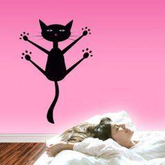 MUURSTICKERS: Vliegende kat