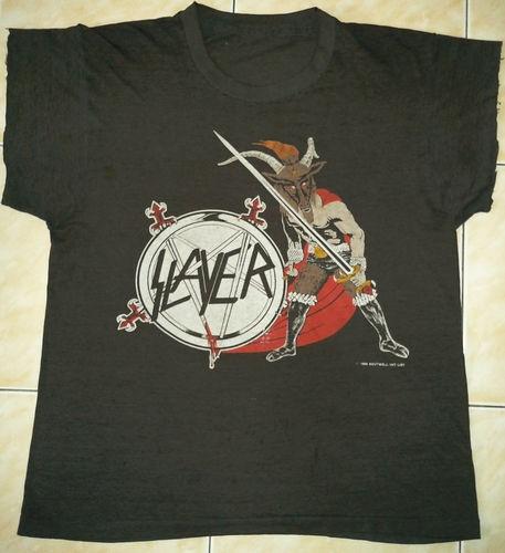 RARE Vintage 86 Slayer 50 50 Haunting The Chapel Death Thrash Metal Tour T Shirt   eBay