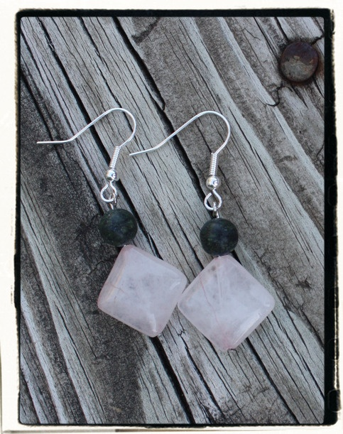 Russian Jade and Rose Quartz Silver Earrings.   These are all of my own creations.  Like us on facebook!  www.facebook.com/almondeyecreations  Visit my online store!  www.almondeyecreations.storenvy.com