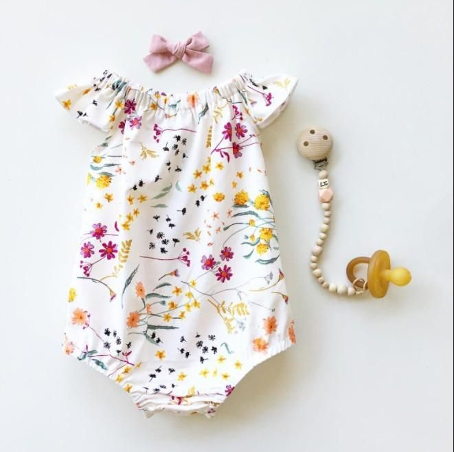 Pretty Floral Pattern Short-sleeve Bodysuit for Baby Girl( Without Acc – cute.patpaty