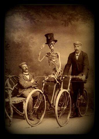Fridge Magnet vintage image of Skeleton riding a Bicycle macabre Halloween interest