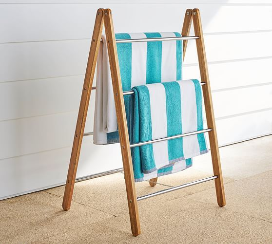 Love This Outdoor Shower Collapsible Towel Rack So