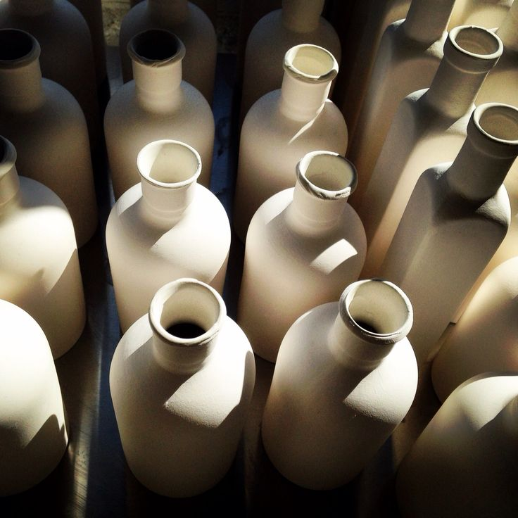 My porcelain bottles drying in the sun www.boopdesign.com