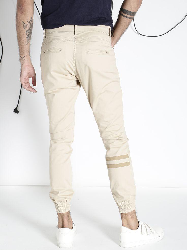 Buy ecko unltd men beige slim fit solid jogger trousers
