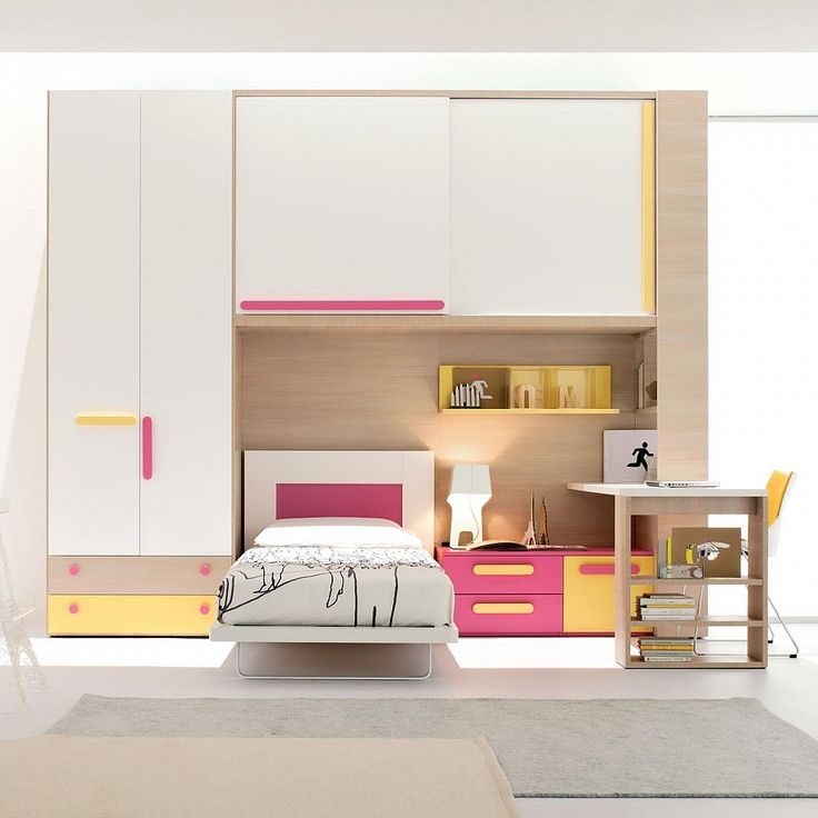 Girl's bedroom/study furniture set Yellow-Pink by Clever | Kid's room interior |