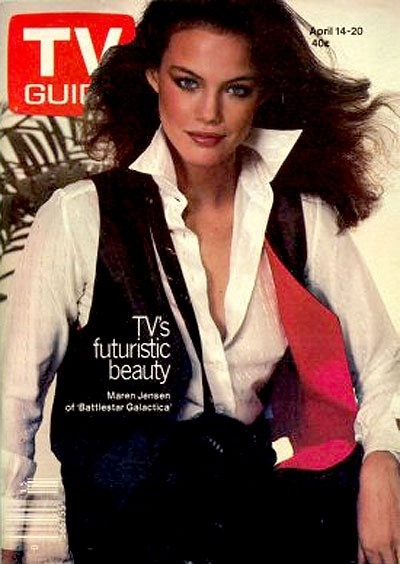Maren Jensen on the cover of the April 14-20, 1979 edition of TV Guide as Athena from Battlestar Galactica.