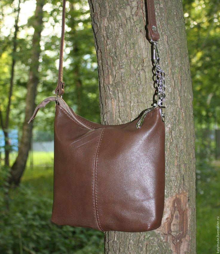 """Купить """"Шоколадка"""" Маленькая сумочка кросс-боди на длинном ремешке - коричневый, сумка из натуральной кожи"""