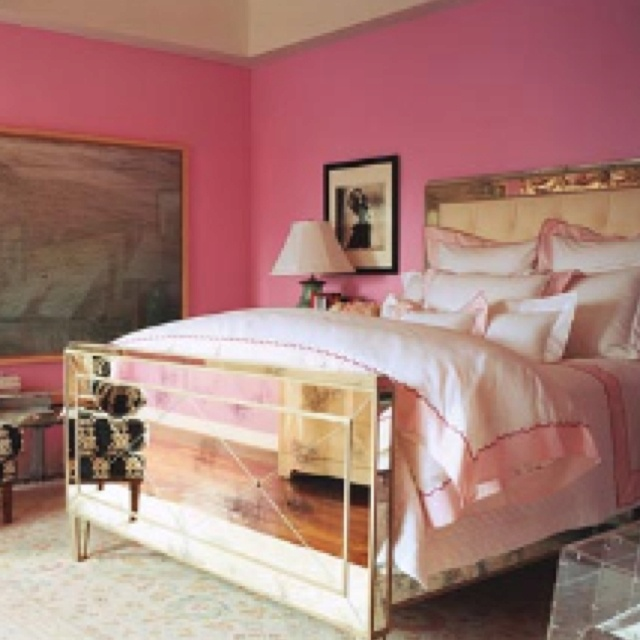 bed: Mirror Beds, Mirror Furniture, Wall Color, Pink Rooms, Pink Wall, Beds Frames, Pink Bedrooms, Girls Rooms, Design