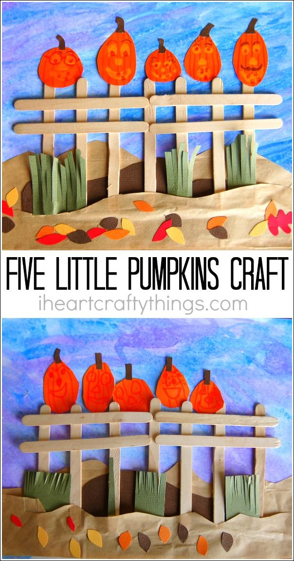 This five little pumpkins craft goes perfectly with the book Five Little Pumpkins by Iris Van Rynbach and it makes a great Halloween kids craft and pumpkin craft for kids.