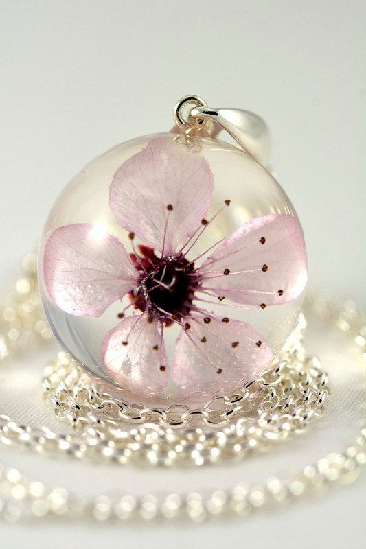 Pink Cherry Flower Pendant Pink Resin Pendant Real by Caldesia