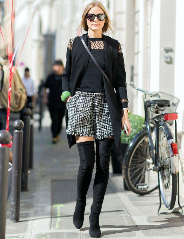 botas altas negras + shorts de tweed en black & white                                                                                                                                                                                 Más