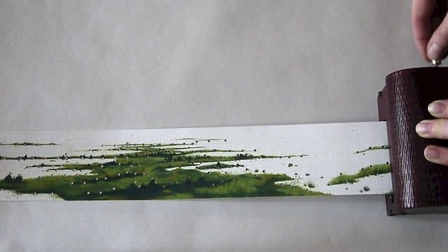 Listen to more landscapes here: https://vimeo.com/channels/732628  The Soundscape Instrument is an object that translates painted landscapes into sound. The 'scores' are detailed gouaches on paper of actual landscapes, which subsequently are perforated following unique features of the landscape, (i.e. the horizon line, the lines of the trees, the pattern of the birds flying, etc.). Once perforated the painting is played via the music box.  The process of creating each painting/score goes...