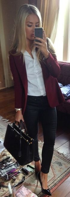 Burgundy blazer, straight blonde hair, open-collared white dress shirt, black skinnies, black stilettos