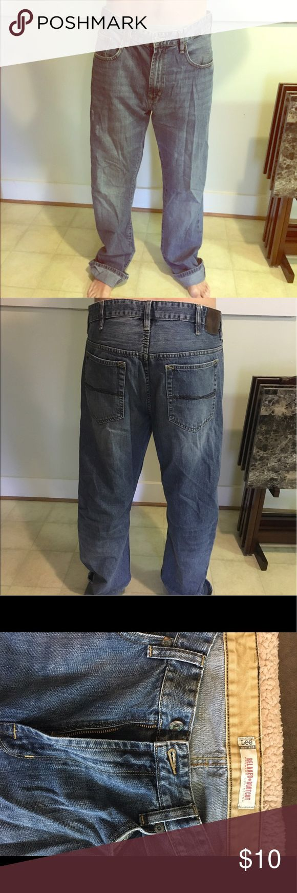 Men's Lee Relaxed and Bootcut Jeans Only worn three/four times. Nothing wrong with them. Very comfortable. Great working jeans or for men who wear boots a lot! Lee Jeans Bootcut