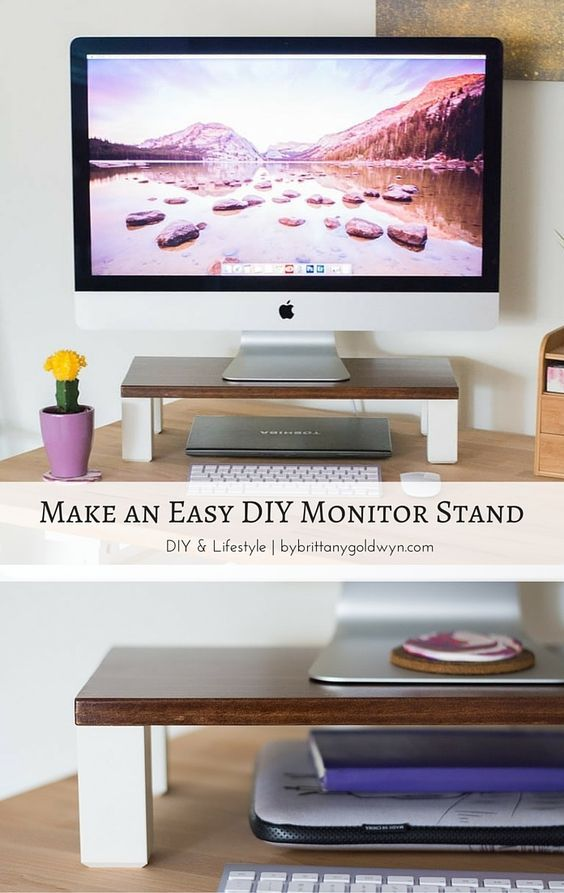 Create more functional space, give your desk a sleek look, and improve ergonomics by making this DIY monitor stand--no power tools involved! | make a monitor stand, make a monitor stand, DIY computer stand