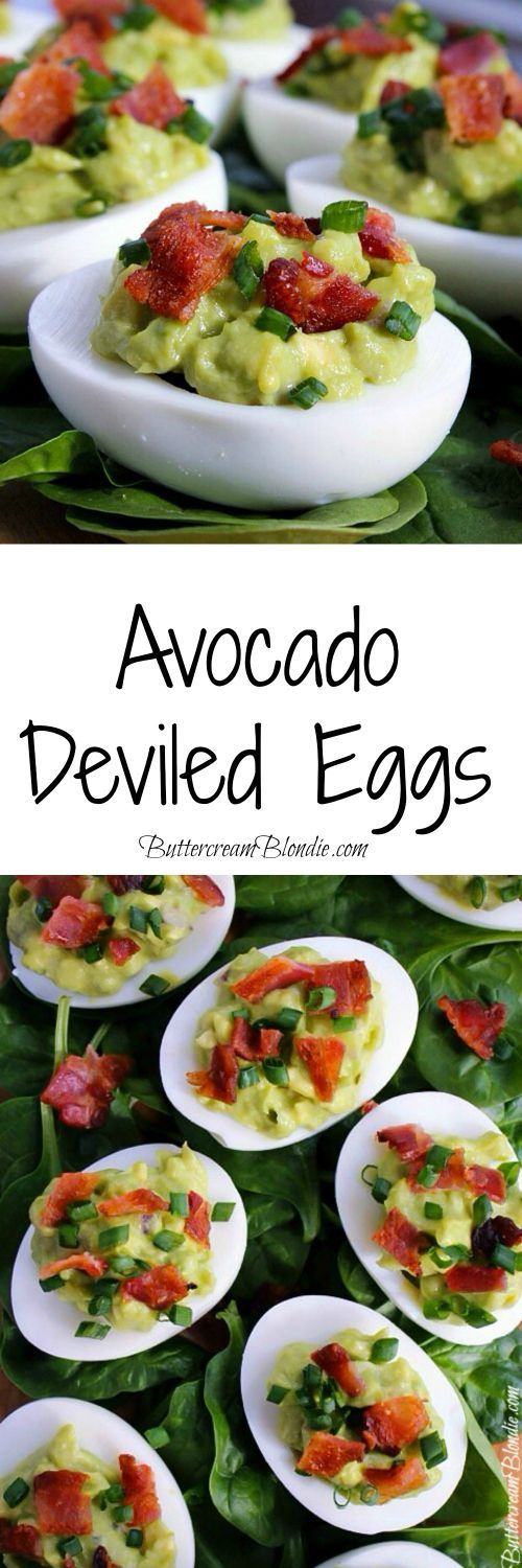 Avocado Deviled Eggs - classic deviled eggs get an update with creamy avocado and bacon sprinkles! | ButtercreamBlondie.com