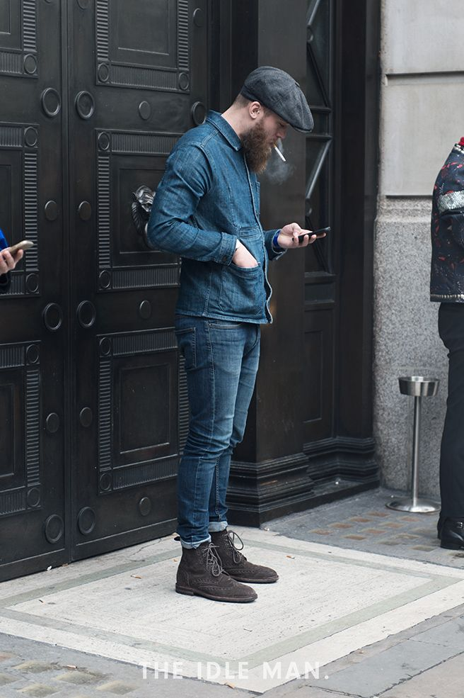London Collections Men street style, double denim look paired with brown suede boots and cap | The Idle Man